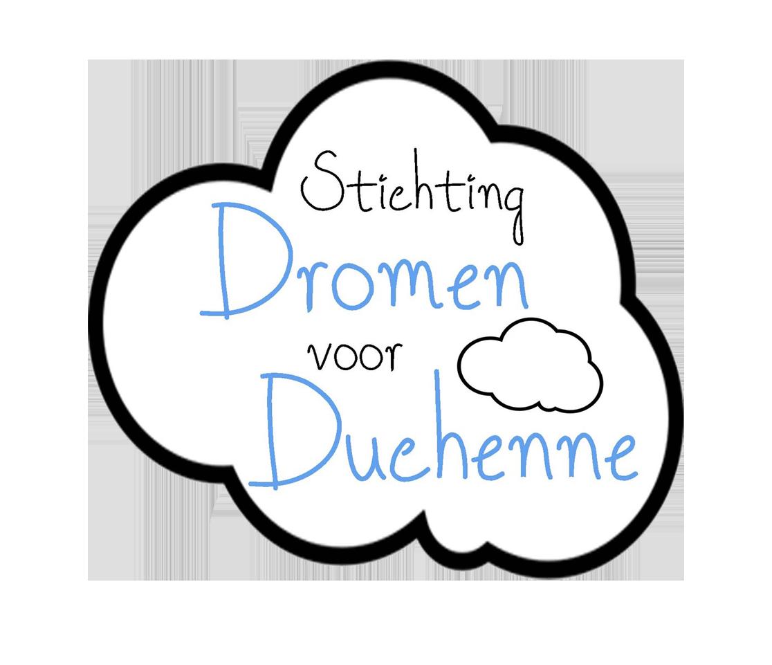 Deze afbeelding bevat het logo van Stichting Dromen voor Duchenne. Het logo is een grote wolk met daarin een klein wolkje en een bijschrift met de tekst Stichting Dromen voor Douchenne.