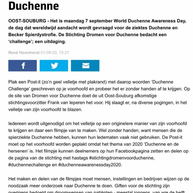 • A R T I K E L • P Z C •  Op dinsdag 02 september stond onze #duchennechallenge in de PZC. De actie is in het kader van World Duchenne Awareness Day op 07 September.  De jaarlijkse terugkerende dag waarop er aandacht wordt gevraagd voor #duchenne en #Becker Spierdystrofie. Super leuk dat zij hier aandacht aan hebben besteed!  #pers #media #PZC #duchenneawarenesday2020 #duchennechallenge #stichtingdromenvoorduchenne