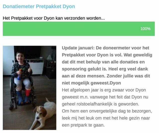 De doneermeter voor het Pretpakket voor Dyon is vol🤘. Wat geweldig dat dit met behulp van alle donaties en sponsoring gelukt is. Heel erg veel dank aan al deze mensen👏🏻. Zonder jullie was dit niet mogelijk geweest 🤗.  #pretpakket #dankbaar #dyon #pretpark